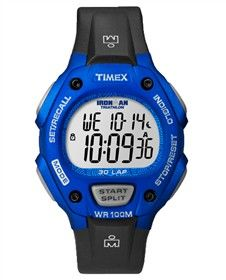 Timex Ironman Mid-Size (Black & Blue) 30 Lap MidSize is an easy to use watch for fitness beginners.