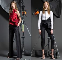 Dsquared2 2016 Pre Fall Autumn Womens Lookbook Presentation - Military Zipper Cargo Pockets Grosgrain Belted Waist Accordion Pleats Ruffles Tiered Embroidery Bedazzled Coat Pantsuit Turtleneck Knit Sweater Lace Up Sheer Chiffon Drapery Wrap Dress Bowtie Blouse Shirtdress Bomber Jacket Cloak Cape Hanging Sleeve Parka Flowers Floral Wide Leg Trousers Palazzo Pants Sleepwear Pajamas Loungewear Medals Denim Jeans