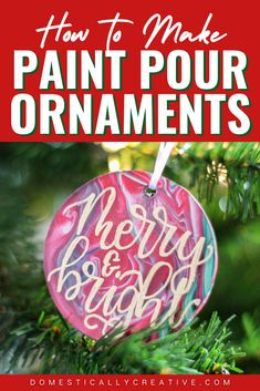 Make these fun paint pour Christmas ornaments for your tree! The paint color combinations are endless to make these DIY ornaments fit on any Christmas tree. #paintpour #christmas #ornament #christmastree #domesticallycreative Christmas Ornament Crafts, Christmas Crafts For Kids, Diy Christmas Ornaments, Christmas Fun, Christmas Bulbs, Christmas Decorations, Holiday Decor, Cup Crafts, Craft Stick Crafts