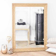 Miroir en bois de paulownia doré H 120 cm VALENTINE