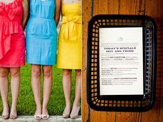 Found on WeddingMeYou.com - Mismatched Bridesmaid Dresses – Color Blocking