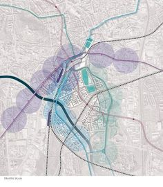 brno master plan by dutch urban solutions. This specific diagram is mapping out the traffic plan of the site in context. I chose to pin this diagram to lead you to the site once you click on the pin. Once on the site, there are many different site analysis diagrams that really go into detail into specific topics which I think is successful because it diminishes clutter of having everything piled upon one graphic. This diagram is aesthetically while containing info needed