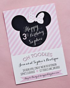 Minnie Mouse Birthday Invitation Printable by paigesofstyle, $15.00