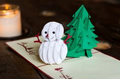 Yet another wonderful pop-up greeting card. Snowman and a tree that appears on the card every time you open it. Simple yet looks amazing.