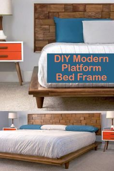 Why buy a platform bed frame when you can DIY it? Build this mid-century modern king platform bed frame using our easy-to-follow tutorial. Do it cheaper, better (higher quality), and make it any color you like! Diy Platform Bed Frame, King Platform Bed, Modern Platform Bed, Diy Bed Frame, Decorating Tips, Decorating Your Home, Diy Home Decor, Diy Shops, Bed Pillows