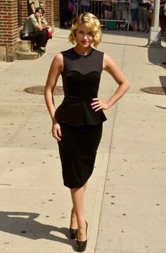 dianna agron. i am in love with this dress, loving peplum skirts right now, haha