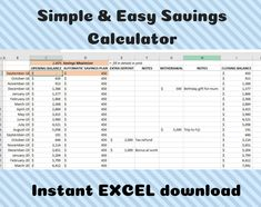 Excited to share this item from my #etsy shop: Savings Calculator - Savings Tracker - Savings Budget - Digital Download - Excel - Emergency Fund - Instant Download - Money Saving