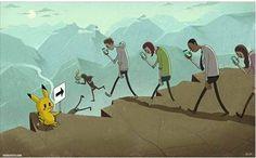 Pikachu rule the people. creative art illustration: people walk down to abyss Pokemon Go, Pikachu, Pokemon Memes, Art And Illustration, Disney Drawings, Cartoon Drawings, Art Drawings, Horse Drawings, Fantasy Boy