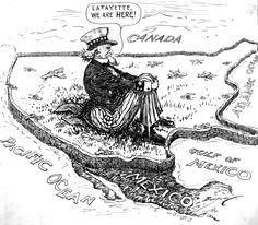 "Political cartoon, 22 May 1940. Cartoonist Clifford Berryman saw isolationism as reverse of the US attitude in WWI when US troops landed in France shouting ""Lafayette we are here!"" (referring to French support during the Revolutionary War). Now in the period of isolationism and neutrality, Uncle Sam could only sit behind his sealed off America and proclaim ""Lafayette, we are here!"" while Germany invaded France."