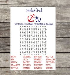 Printable Nautical Baby Shower Word Search by RibbonsAndPixels