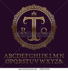 Wavy patterned gold letters with initial monogram. Elegant font for logo design. Isolated english vintage alphabet.