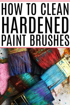 Is your favorite paint brush dry and covered in hardened paint? Check out these simple tips on how to clean hardened paint brushes. Remove the paint and make them like new again. Cleaning Recipes, Diy Cleaning Products, Cleaning Hacks, Oven Cleaning, Diy Hacks, Painting Lessons, Painting Tips, Cleaning Paint Brushes, Natural Cleaners