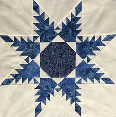 Blue & White Feathered Star Quilt Block
