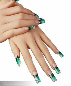 green nails....I like the design, but my are they LONG