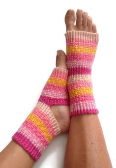 Yoga Socks Hand Knit in Peachy Pedicure Pilates by MadebyMegShop, $35.00