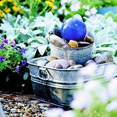 diy: gazing ball bubbler fountain...