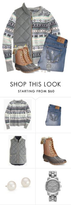 """""""J.crew fair isle sweater, gray vest & duck boots"""" by steffiestaffie ❤ liked on Polyvore featuring J.Crew, Hollister Co., Sperry, Blue Nile and Michael Kors"""