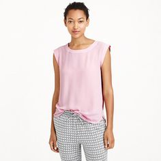 J.Crew - Sleeveless drapey top. This is a perfect top in ivory for warm days and layer the j Crew sandstone merino v-neck  cardigan over for evening with a pair of skinny jeans and a great scarf!  I love the look, classic with a little edge!