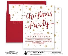 CHRISTMAS PARTY INVITATIONS Gold Glitter Snowflakes Holiday Card Red + Gold Ready Made Cards or DiY Printable Christmas Invites - Stella style. Red envelopes and matching envelope liners also available. Only at digibuddha.com