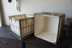 Vintage Metal Milk Crates Set with Canvas Liner on Etsy, $50.00