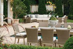 Polyrattan möbel beige hell terrasse pool essbereich