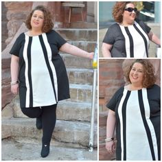 "LeAnne of ""Adventures of the Un-Martha"" in the Bespoke Contrast Panel Tunic #plussize #fashion"