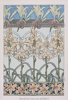 Decorative Lily design, by Alphonse Mucha. Paris, France, early 20th century