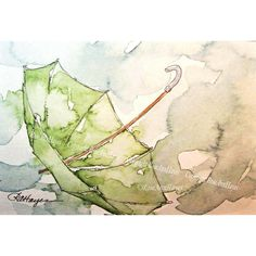 Green Umbrella in the Rain Watercolor Painting Print ($20) ❤ liked on Polyvore featuring home, home decor, wall art, backgrounds, photo painting, green wall art, water color painting, green home decor and watercolor painting