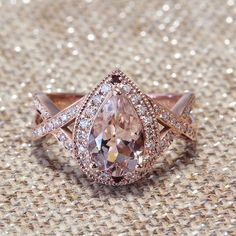 Pear Shape Pink Morganite engagmenet ring by SillyShinyDiamonds
