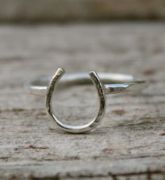 Lucky Horseshoe Ring in all Sterling Silver  Petite by jencervelli, $22.00