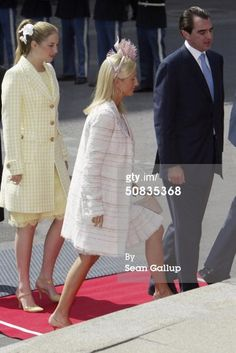 On the eve of Prince Frederik and Mary Donaldson's wedding : after lunch on the Royal Yacht in Copenhagen, Denmark on May 13, 2004 - Princess Marie-Chantal of Greece and husband Paul of Greece.