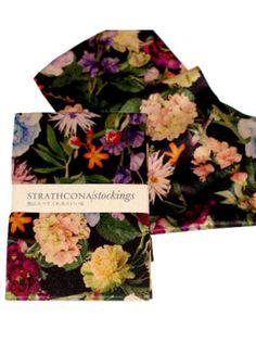 Strathcona Silk Trouser Stockings - Black Floral