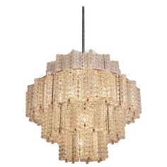 One of six Huge and Rare Glass Chandeliers by Austrolux