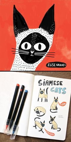 Elise Gravel illustration • cat • siamese • chat • siamois • red • black • white • bichromie • deux couleurs • cute • animal • drawing • painting • art