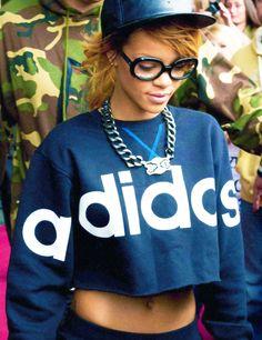 Rihanna's dope style. Adidas shirt