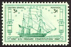 Old Us Postage Stamps Value | US Stamp Gallery >> drawing of Frigate Constitution