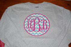 Would be cute on a pullover...Monogram Applique Chevron T-Shirt Womens. $17.00, via Etsy.