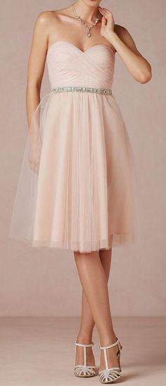 Tulle bridesmaids tea dress. My wedding dress was very similar to this; tulle and the top half part of the dress are almost identical to mine, minus the jewels.