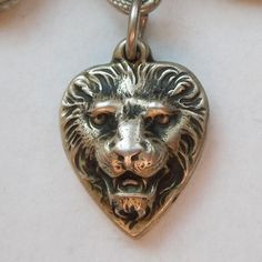 Sterling Silver Puffy Heart Charm ~ Ferocious Lion Face