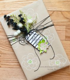 LOVE this stamped gift wrap, created by Joan Bardee at www.dearpaperlicious.com