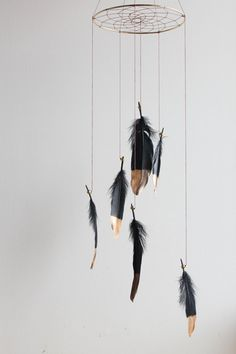 Black Dreamcatcher Mobile Gold Dipped  Boho by WhitehallFarmMD