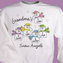 Snow Angels Personalized Christmas Sweatshirts. Christmas is a wonderful time to give Grandma, Mom, Aunt or Nana their own Personalized Snow Angels Sweatshirt. Be sure to include all of her precious little Snow Angels when you create this wonderfully warm Personalized Sweatshirt. Personalized Snow Angels Sweatshirt is available on our premium white cotton/poly blend Sweatshirt, machine washable in adult sizes S-4XL. Personalize your Snow Angels Shirt with any title and up to 30 names.