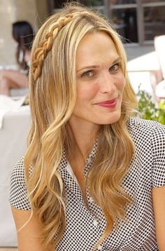 LIA- Two Regular braids from top down back and under hair. Hair straight or loose waves. (This pic has one bride but I like the mid placement and would replace the one for 2 starting at middle)