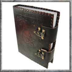 Book of Shadows - A leather journal with latches. On the cover a pentagram design is embossed into the leather. - by Nemesis Now!