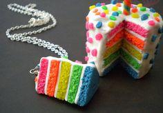 Rainbow Cake Necklace Neon Cake Confetti by ElvenStarClayworks
