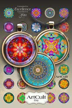 MANDALAS - Digital Collage Sheet 1 inch size / 1.5 inch size Printable circle Images for round glass and resin Pendants bottle caps magnets