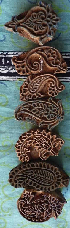 Indian Woodblock Stamps - Used for fabric printing. These are great when you can find them. Use them for stamping in any art project. Can also be found in metal, which are perfect for dipping in melted wax for batik painting.