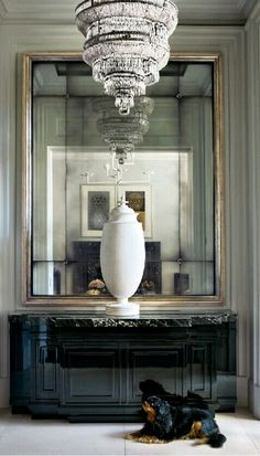 lighter grey with silvery gold edging... could still do gold light or have it painted this silvery gold (like the mirror in this pic)