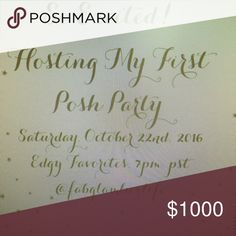 Co-Hosting My First Posh Party! I am so excited to be co-hosting my first party. Please plan to join me and my wonderful co-hosts Saturday, October 22nd, 2016. Other
