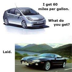 Inspirational poster joke - Jaguar vs Prius #CrudeHumor